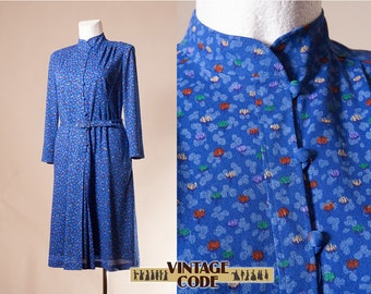 80s does 40s long sleeve day dress / High neck 80s midi dress / Blue 40s style dress / Made in West Germany / size  Medium to Large