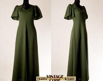 Moss green 70s maxi dress / Flutter Butterfly sleeve dress / Empire waist Poly Hostess maxi dress by C&A /  size small to medium