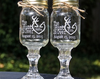 2 Redneck Wine Glass, 2 Personalized Etched Glass