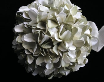 Sage greens paper hydrangea pomander ball for flowergirl, weddings