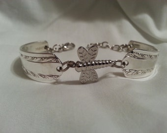Dragonfly Spoon Bracelet, Silverware Jewelry, Spoon Jewelry, Vintage