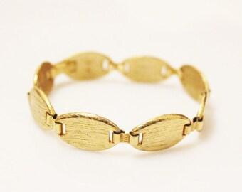 Vintage Gold Linked Bracelet marked West, Brushed Gold Bracelet, Thick Gold Bracelet