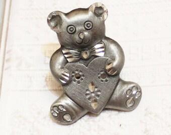 Vintage Teddy Bear Brooch, Bear Jewelry , Gifts Under 15