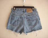 Vintage 1990s Levi Strauss High Waisted Denim Shorts, Size Medium / Large