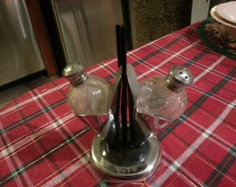 Vintage Glass and Chrome Salt & Pepper Shaker with Holder