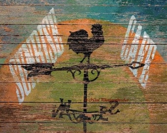 Rustic Rooster Wind vane Sunrise Cafe Bistro Art Kitchen Art Matted Picture A703
