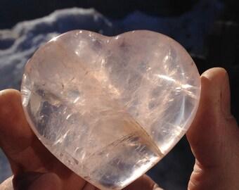 Rose Quartz Heart Palm Piece no. 34