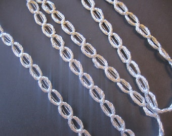 """Metallic Chain Cord, Silver, 5/8"""" inch wide, For Historical Costume, Dolls, Home Decor, Victorian Crafts"""