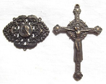 Bronze Rosary Set w Renaissance Crucifix and Filigree Blessed Virgin Mary Centerpiece Center