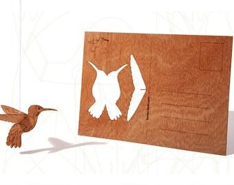 postcard wood - Humming Bird, three-card-set