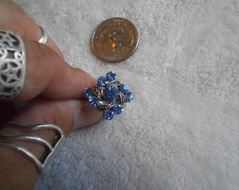 Stunning Ring-Blue Ice Crystal Rhinestone-Adjustable- R349
