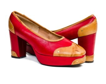 1970s Vintage Shoes: Two-Tone Platform Pumps