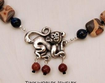 Silver Mayan Monkey Necklace