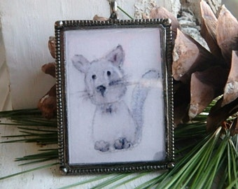 Pretty Kitty- art resin pendant original painting. little grey kitten. ooak grey kitten painting. large silver bezel. Jettabugjewelry