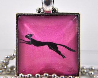 Pink Cat Poses - Black Cat Pendant - Black Cat Necklace - Cat Pendant Necklace - Cat Jewelry - Funny Cat Art