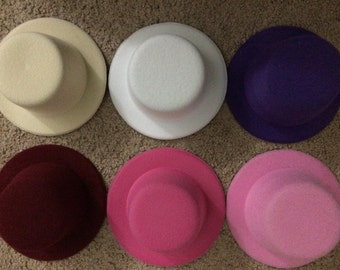 """5"""" Mini top hat Fascinator base for hat - party mini top hat - clip top hat - mini hat supplies - choose your color -"""