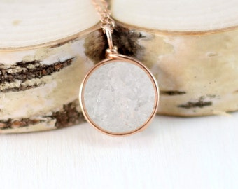 Rose Gold Druzy Necklace, 14k Rose Gold Filled White Druzy Pendant Pink Gold Wire Wrapped Druzy Quartz Jewelry