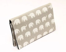 Fabric card holder, cute mini wallet, business card case, gift card case women, small animal wallet for kids- grey/beige white tiny elephant