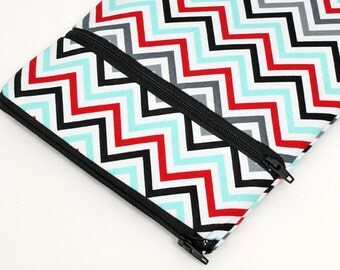 "Samsung Galaxy Tab sleeve, iPad Mini Pouch, Nook GlowLight Case, Kindle Fire HD 8.9"" Cover, iPad Pro 12.9"", iPad Air 2 - blue red chevron"