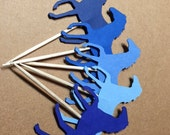 24 Shades of Blue Horses Cupcake Toppers No. 191