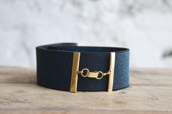 wide blue belt navy blue belt elastic waist belt by