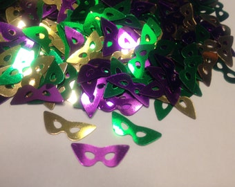 35- 40 Mardi Gras Masks confetti / sequins  , 7 x 17 mm (14)
