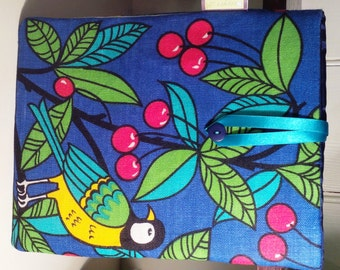 """iPad, Kindle Fire or other 10"""" Tablet / e-Reader Sleeve - Vintage 1970s fabric, Songbird & Cherries"""