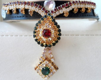 Couture collar. Red, white, gold and green diamante drop. with faux gems. OOAK