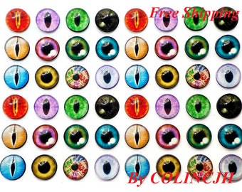 48pcs  12mm Colored  Glass Eyes Flat Back  Animal Craft Eyes Handmade Glass Cabochon