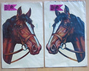 MYERCORD Vintage Decorator DECALS HORSES with Bridles