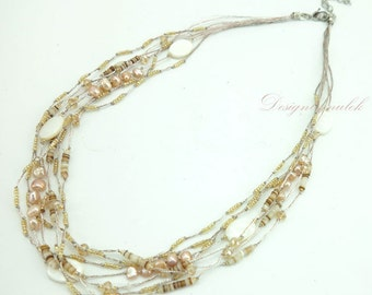 Light pink freshwater pearl necklace.