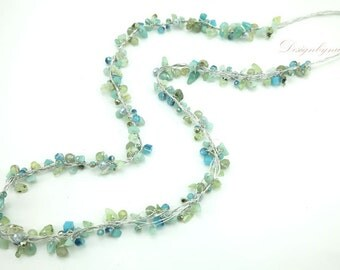 Aventurine,turquoise,crystal long necklace.
