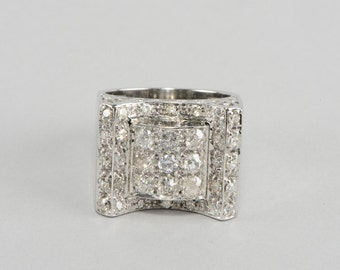 Amazing Art Deco 1.50 Ct old cut diamond antique buckle ring