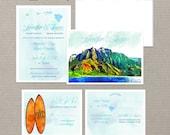 Hawaii Islands Watercolor Wedding Invitation RSVP Info card set card Beach Mountain Surfboard surfing Destination wedding invitation