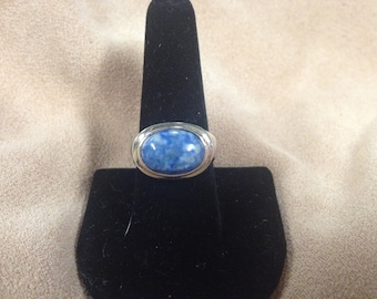 Vintage Sterling Silver Ring with Blue Stone Design
