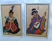 Vintage Mid Century Wall Hangings Original Framed Stone Art Gravel Art  Asian Oriental Handmade Set of 2