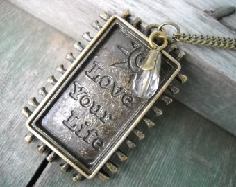 Love Your Life Necklace/Boho/Hippie/Chic/Mod/Statement