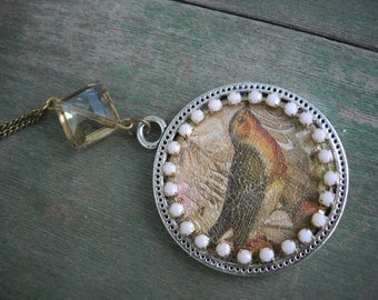 First Song Necklace/Pendant/Bird/Boho/Cottage Chic/Mixed Metal