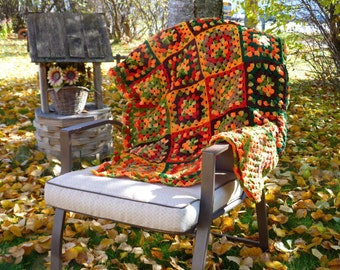 Crochet Granny Square Afghan Fall Autumn Color Handmade Harvest Home Decor Blanket Crocheted Brown Orange Green Traditional Country