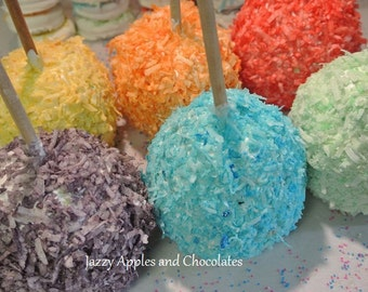 Rainbow Caramel Apples