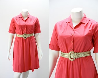 XXL Vintage Dress  Solid Color Hot PInk Cuffed Sleeves