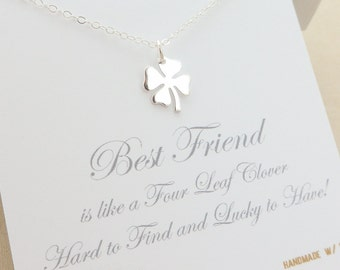 Friendship Necklace - best friend necklace - 4 four leaf clover necklace - bridesmaid gift - bridesmaid jewelry - best friend gift