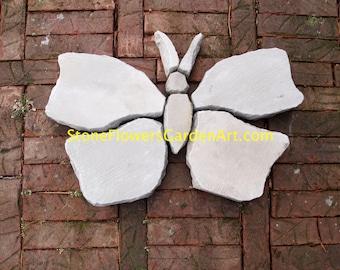 Stone Flowers Garden Art Hand Chipped Sandstone Butterfly