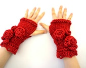 Red Rose Onie Fingerless gloves, Red hand warmers, Knitted and Crocheted Gloves, Red Rose fingerless gloves,  READY to SHIP, Red Rose