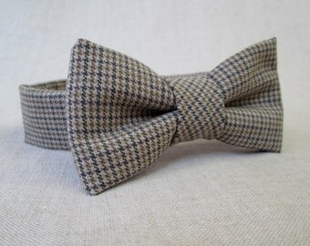 Boys Bow Tie - Brown Houndstooth Bow Tie Newborn Photo Prop to Toddler Photography Prop - Baby Bow Tie - Boys Brown Bow Tie Toddler Bow Tie