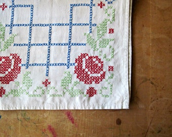 Cross Stitch Runner, Cotton Dresser Scarf, Embroidered Cotton Runner, Tabletop Decor, Hand Stitched Doily, Farmhouse Decor, Rustic Cottage