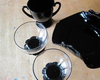 Black Amethyst Glass Dessert Set, Black Amethyst Cup, Cambridge Glass, Antique Candy Dish, Art Deco Glass, 1930's 1920's, Depression Glass