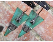 Tribal earrings-vintage ~From the rooftops ...the Eiffel Tower~oxidized Eiffel Tower on verdigris triangle wearing tweed and rhinestones