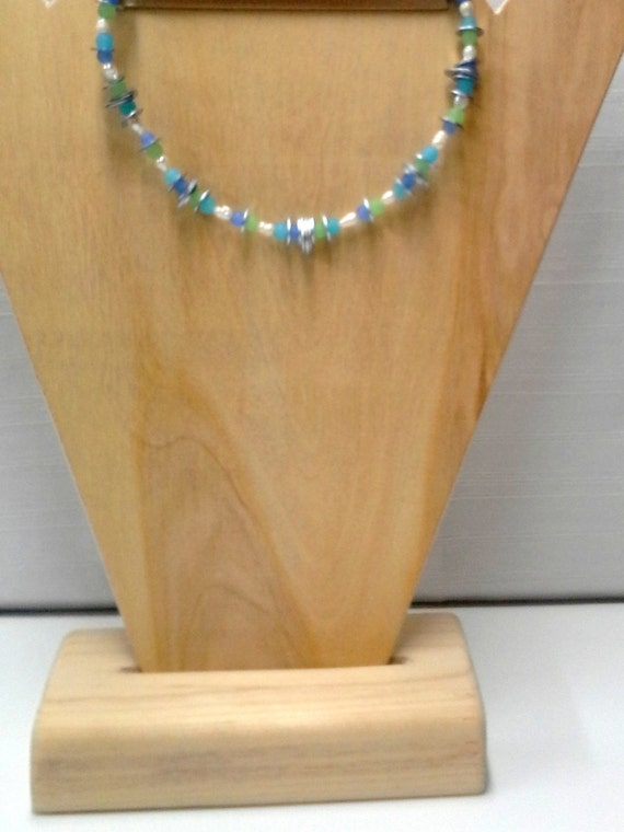 Pastel Green and Blue Beaded Necklace using Washers