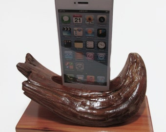 hand made in the USA iphone 4  or iPhone 5 or 6 and 6 plus charging & docking station  made from  drift woodwood.
